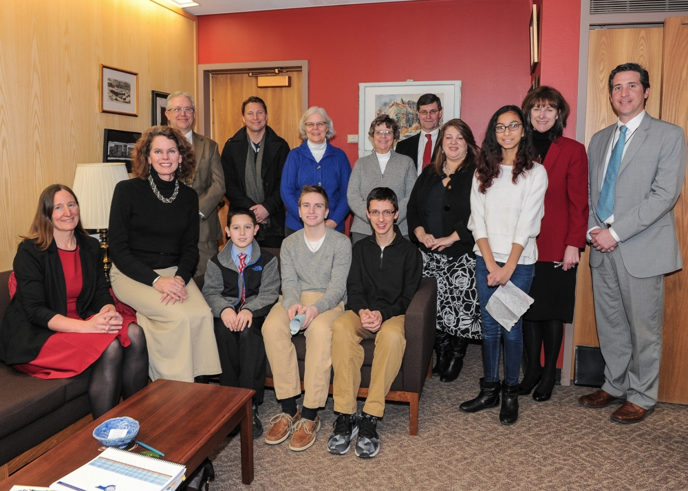 Students, parents, teachers and administrators from the Guilderland school district visited with Assemblymember Fahy at her legislative office in February 2016.