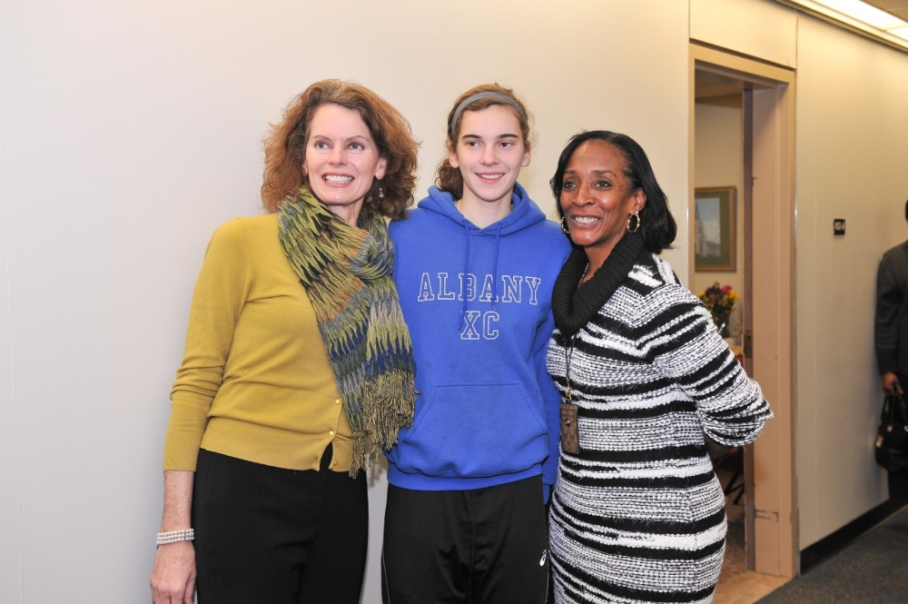 Assemblymember Fahy welcomed her daughter Eileen Bequette, a sophomore at Albany High School, and City School District of Albany Interim Superintendent Dr. Kim Wilkins at her January 2016 annual open house.