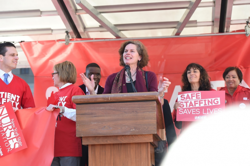 Assemblymember Fahy joins advocates nurses and supporters of the Safe Staffing for Quality Care Act rally in West Capitol Park in April 2016. The proposed law is aimed at setting mandatory nurse-to-patient ratios in New York health care facilities.