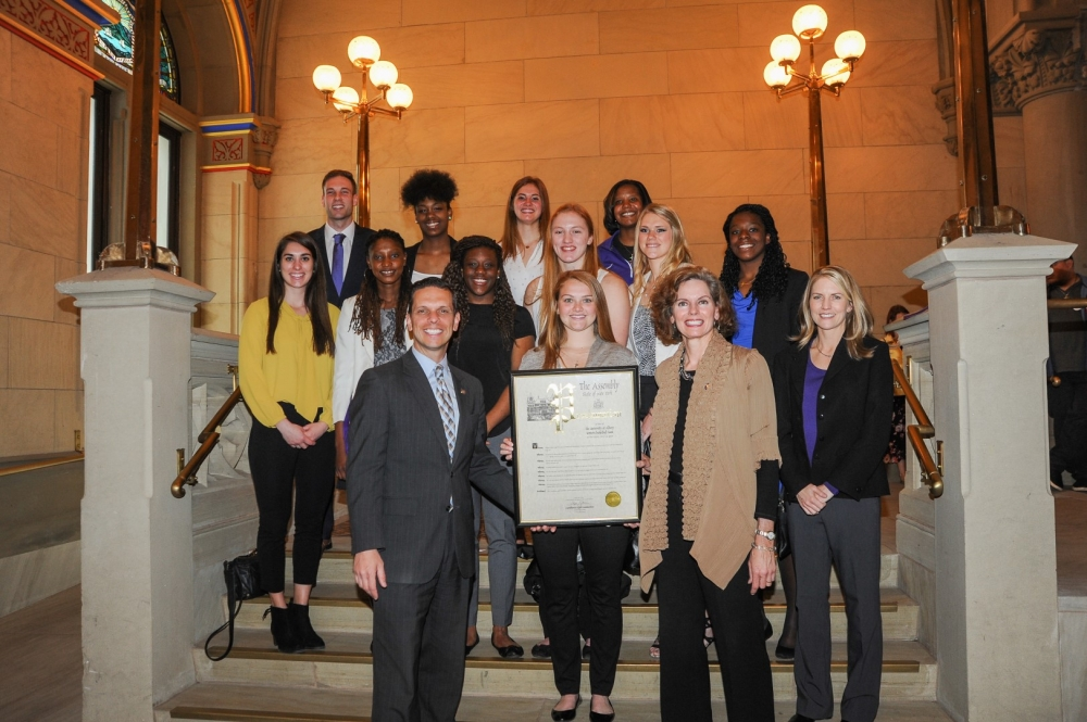 Assemblywoman Fahy along with Assemblyman Santabarbara honors the 2016 Women's Basketball Team from the UAlbany after the team's most successful season in program history, including a victory in the NCAA Tournament. UAlbany earned its fifth consecutive America East Tournament title in the 2015-16 season, picking up a program record 12-seed into the NCAA Tournament. There, the team won its first-ever game in the NCAA Tournament in the Division I era with a 61-59 victory over 5-seed Florida. The team finished with a program record 28 victories in the year.