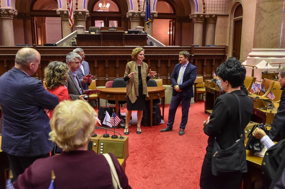 Assemblywoman Fahy discusses STEM education policy with teachers, school administrators and college professors from Romania who were hosted in June, 2016 by the International Center of the Capital Region. The educators are researching how best to upgrade its STEM curricula.
