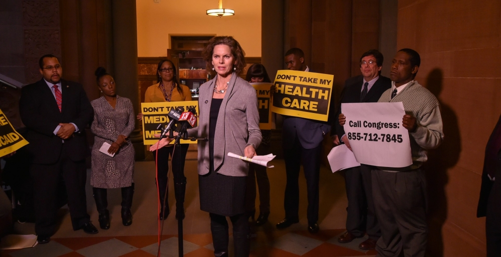 """It's a little difficult to make America great again, if you're going to make America sick again."" Assemblymember Fahy joined representatives from Citizen Action, AFSCME and SEIU at a press conference to make our voices heard on the possible repeal of the Affordable Care Act.<br />"