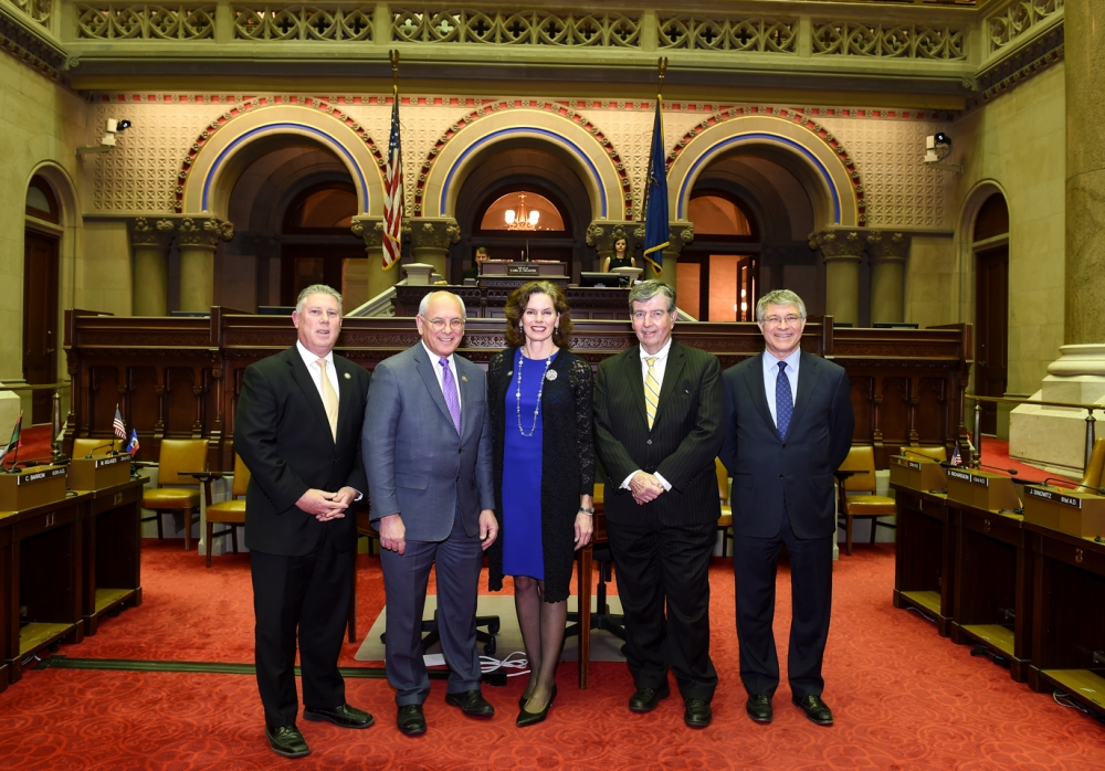 Assemblymember Fahy joins her Capital Region Delegation colleagues for their Swearing in on December 29, 2016 in the NYS Assembly Chambers. (Left to right – NYS Assemblymember John McDonald, U.S. Congressmember Paul Tonko, NYS Assemblymember Patricia Fahy, NYS Senator Neil Breslin, and NYS Assemblymember Phil Steck.<br />