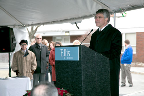 Assembly Member Phil Steck attends an event to mark the opening of a new building at Bellevue Women�s Center which houses the new Breast and Heart Health Center.
