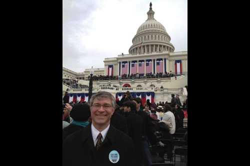 Assembly Member Phil Steck attends the re-inauguration of President Barack Obama in Washington D.C. on January 21, 2013.