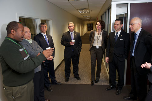 Assemblymember Phil Steck tours The College of Nanoscale Science and Engineering with Assemblymembers Fahy, McDonald and Santabarbara.