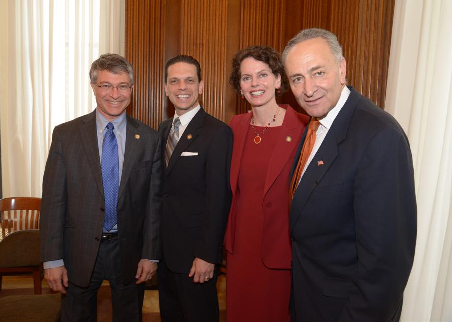 Assemblymembers Phil Steck, Angelo Santabarbara and Pat Fahy meet with Senator Chuck Schumer.