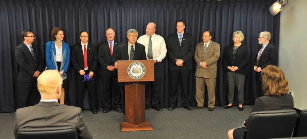Assemblymember Phil Steck fights for local tax relief with the Municipal Health Insurance Savings Act (<bill_link>A.739</bill_link>) at a press conference on May 19th, 2015. Steck was supported by a b
