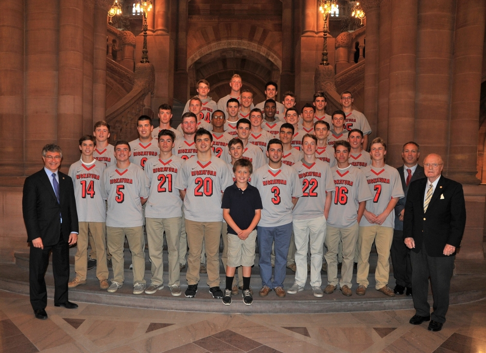 Assemblymember Phil Steck honored the Niskayuna High School Boy�s Lacrosse Team with a resolution in the Assembly for capturing the 2015 New York State Class A Championship. K720