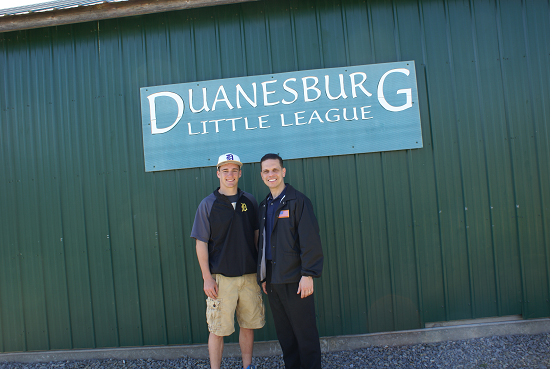 NYS Assemblyman Angelo Santabarbara with West Point Graduate Henry Holmes, who threw out the ceremonial �first pitch� during Opening Day of Duanesburg Little League.