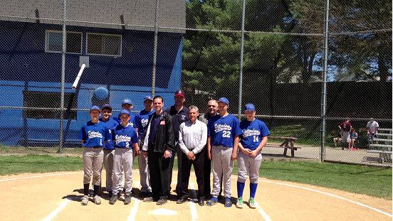 Assemblyman Santabarbara, Schenectady County Legislator Tony Jasenski and Rotterdam Town Councilman Mike Viscusi stand with League President Vern Albdershoff and local athletes during the Opening Day ceremonies for Rotterdam Babe Ruth Baseball.