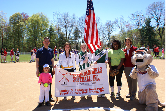 Assemblyman Santabarbara and Senator Cecilia Tkaczyk with the Schalmont High School Color Guard during Opening Day of the Rotterdam Girls Softball League.