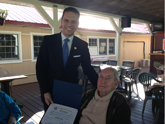 Assemblyman Santabarbara wishing Joseph Cuozzo a Happy 100th Birthday in Amsterdam.