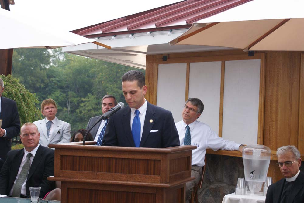 Assemblyman Angelo Santabarbara speaks to attendees at Schenectady County�s 9-11 Memorial Services at the Water�s Edge Lighthouse.