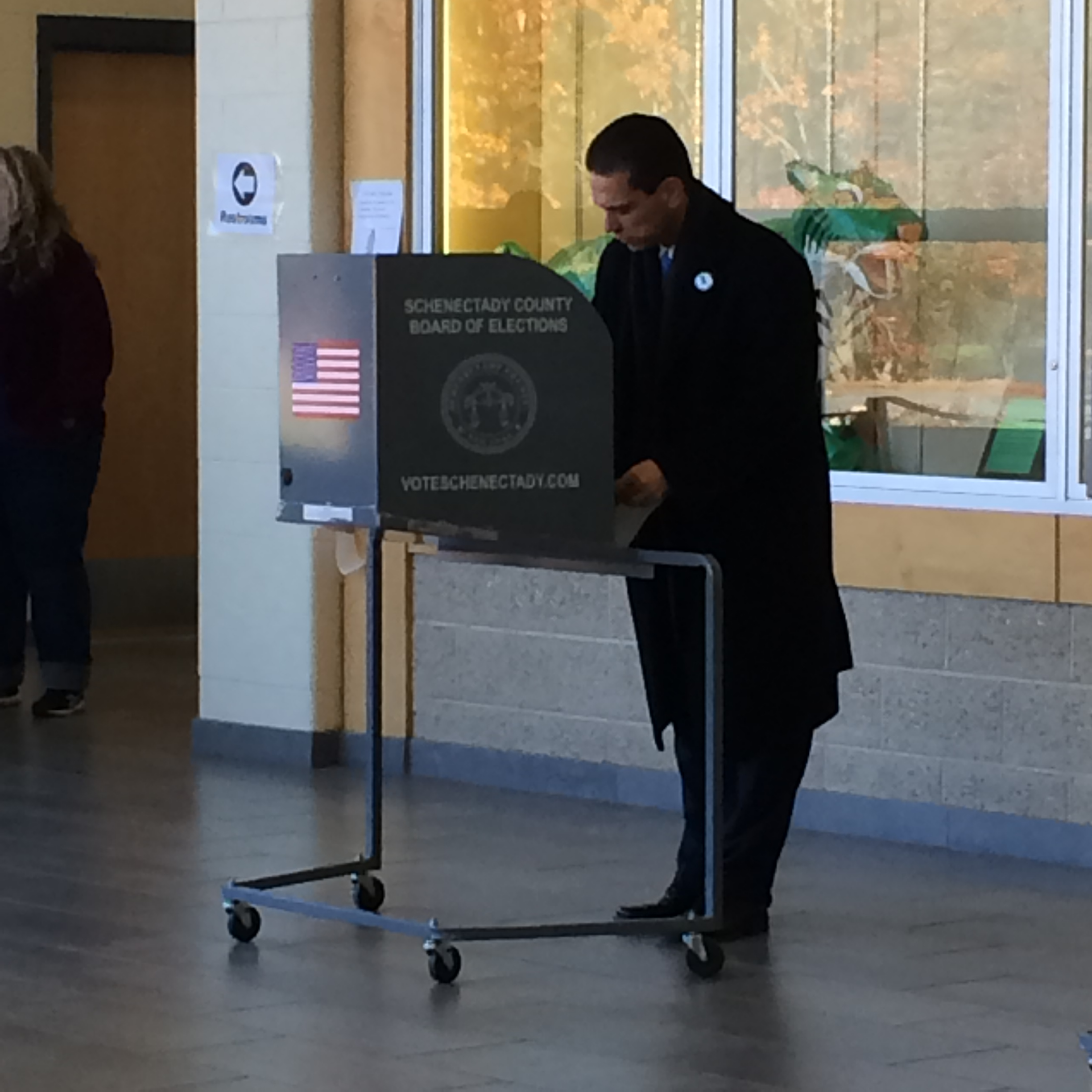 Assemblyman Santabarbara casting his vote on Election Day.
