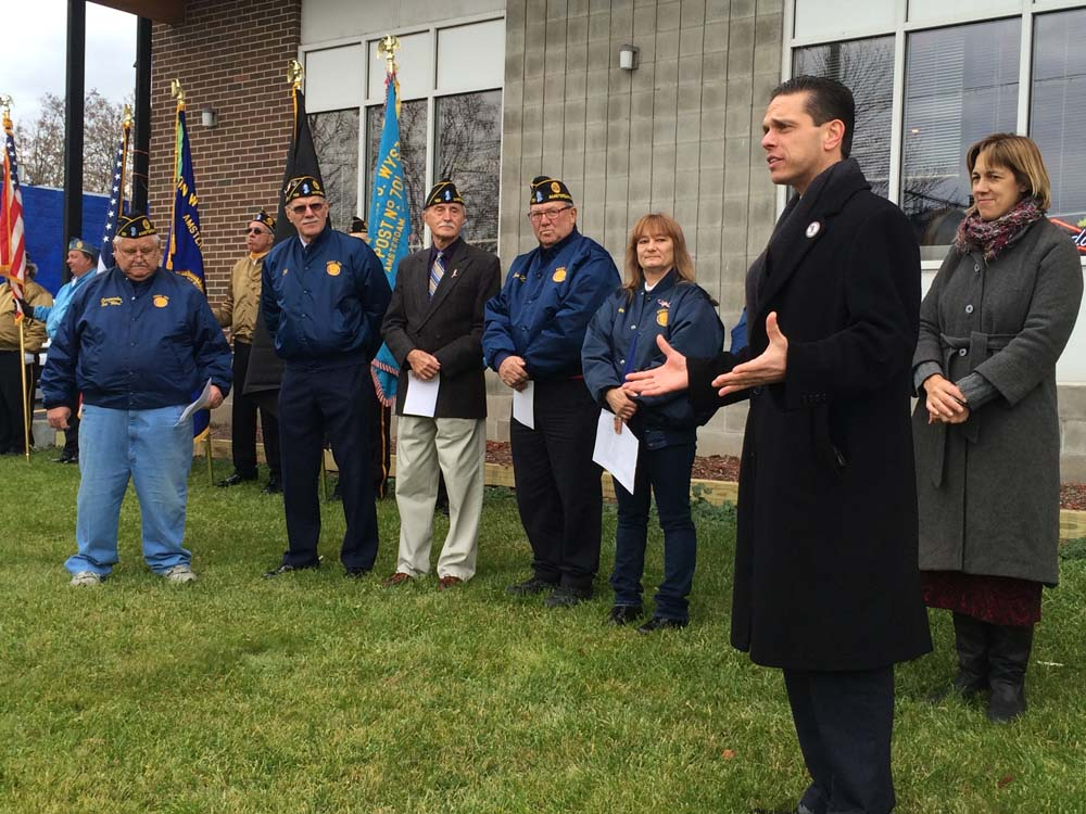Assemblyman Angelo Santabarbara addresses local veteran's Monday (Veteran's Day 11/11/13) at the American Legion, Post 701 in Amsterdam, New York
