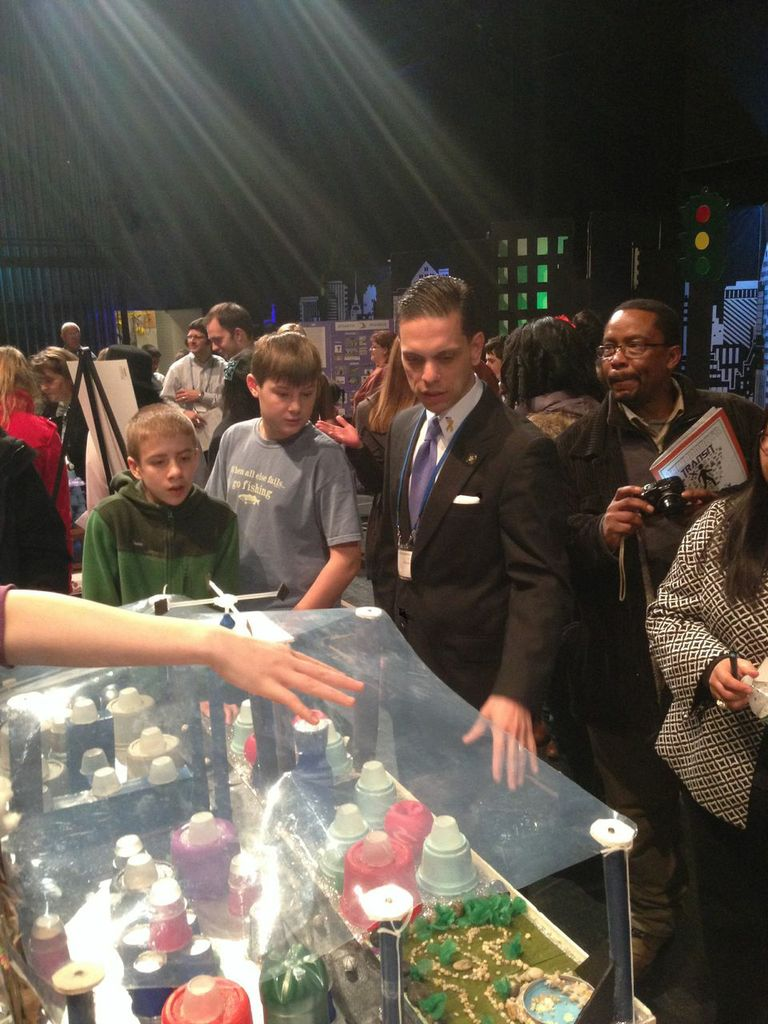 Assemblyman Santabarbara at the 2014 Future City Competition at Proctors