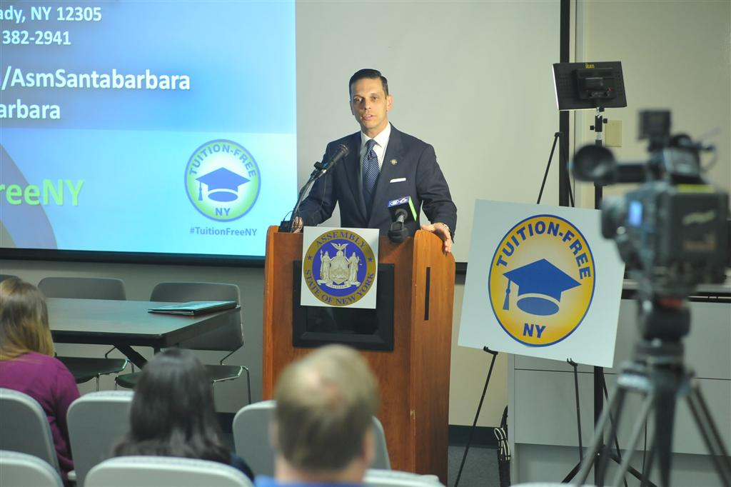 Assemblyman Santabarbara discusses the Tuition-Free NY plan at Schenectady County Community College. The proposed legislation would provide free tuition to in-state students at SUNY schools.