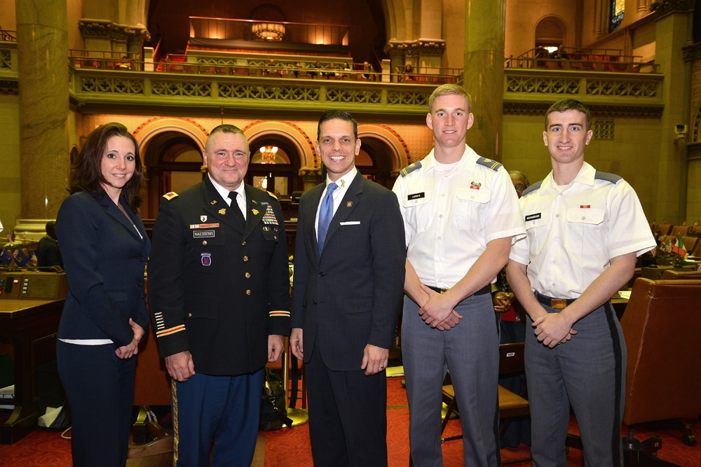 During the Assembly�s annual West Point Day celebration, Assemblyman Angelo Santabarbara (center) met with, from left to right, Amy Amoroso, NYS Program Coordinator for Veteran Business Outreach, Small Business Development Center, University at Albany, Colonel Edward P. Naessens, Jr. and Cadets Gregory Larsen and Gerald McDonough of the Capital Region.