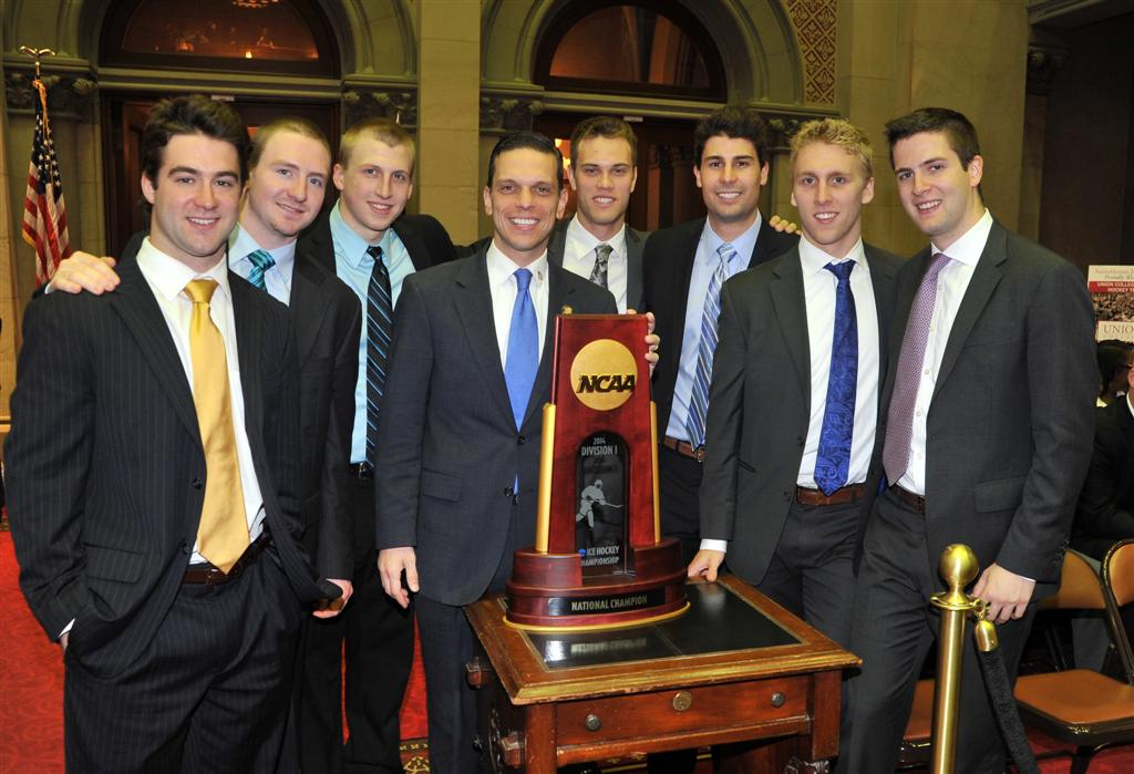Assemblyman Angelo Santabarbara welcomes hockey players from Union College to the Assembly Chamber. The team won the 2014 NCAA D1 National Championship.