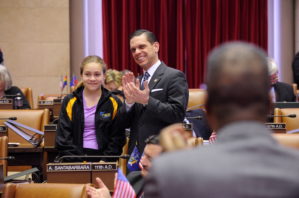 Assemblyman Angelo Santabarbara�s daughter, Marianna, is recognized on the floor of the Assembly by Majority Leader Joe Morelle. March 16, 2015