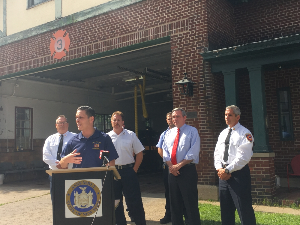 Assemblyman Angelo Santabarbara – alongside Schenectady Fire Chief Ray Senecal, Mayor Gary McCarthy, and city firefighters – announces $129,000 in capital funding his office secured to allow the Schenectady Fire Department to make substantial renovations to Station 3, located at 1200 3rd Avenue.<br /><br />