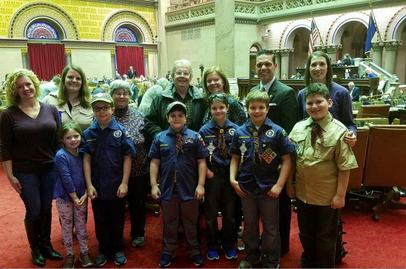 Assemblyman Santabarbara was pleased to welcome Cub Scout Pack 10 from his hometown of Rotterdam as guests in the Assembly Chamber March 7th, 2017.<br />&nbsp;