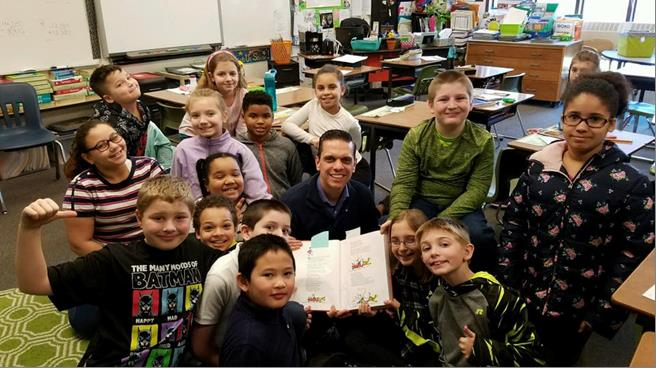 Assemblyman Santabarbara celebrated #ReadAcrossAmerica at Barkley Elementary School in the City of Amsterdam by being a guest reader for the 4th grade class!<br />&nbsp;
