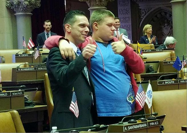 Assemblyman Santabarbara is joined in the Chamber by his son, Michael, diagnosed with Autism at age 3. (2/14/17)<br />&nbsp;
