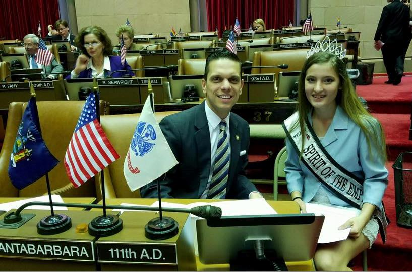 Assemblyman Santabarbara was pleased to welcome Raelyn Hattat to the Assembly Chamber today, Sophomore at Fonda-Fultonville High School and a member of my Student Cabinet. 1/23/17<br />&nbsp;
