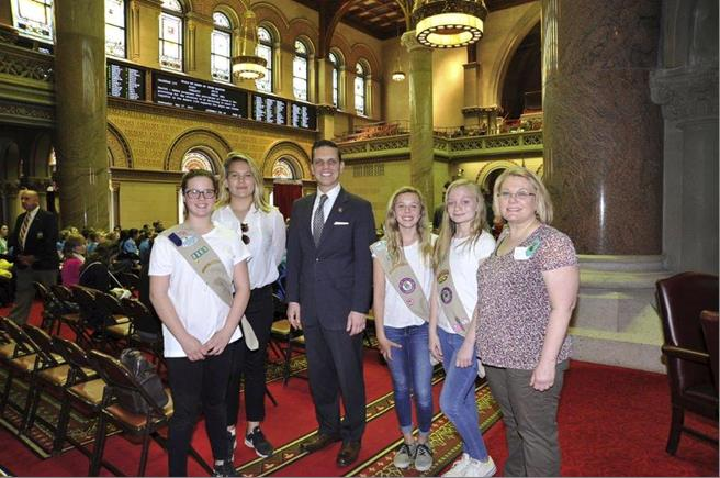 Assemblyman Santabarbara welcomed Girl Scout Troop 2381 from the Village of Canajoharie in Montgomery County to the Assembly Chamber, May 17th, 2017.<br />&nbsp;