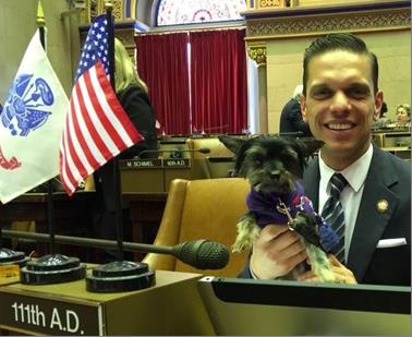 Animal Advocacy Day at the Capitol with Assemblyman Santabarbara and his teacup Yorkie, Muffy on May 28th 2017.<br />&nbsp;