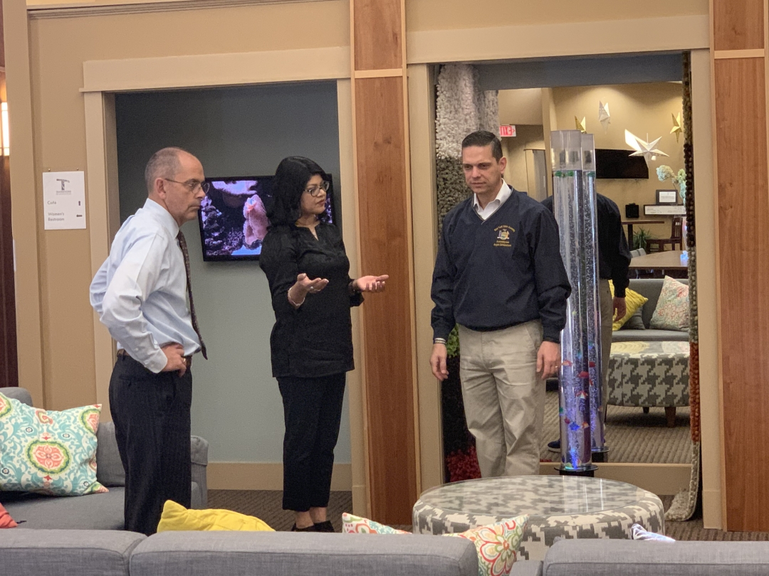 Assemblyman Angelo Santabarbara tours the Transitions program led by Shaloni Winston (Transitions founder, Lexington CEO, and Wally Hart, Division Director for Business & Community Development, Le