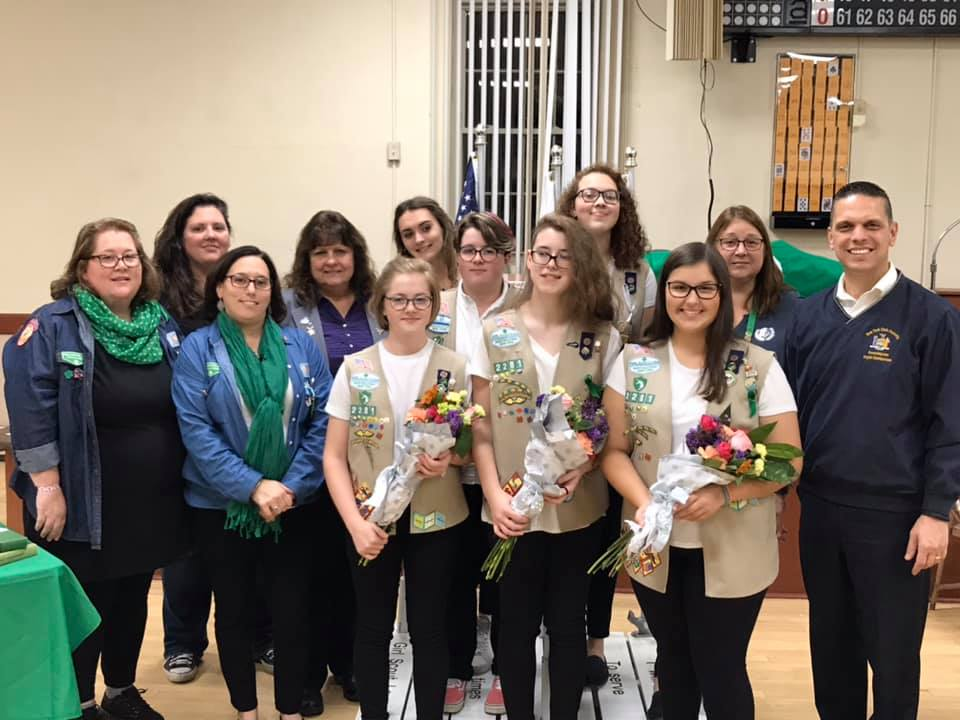 Assemblyman Angelo Santabarbarbara joined representatives from the Amsterdam Elks, Amsterdam Girl Scout Troop 2281 and troop leaders, and parents and family members for a recognition ceremony honoring