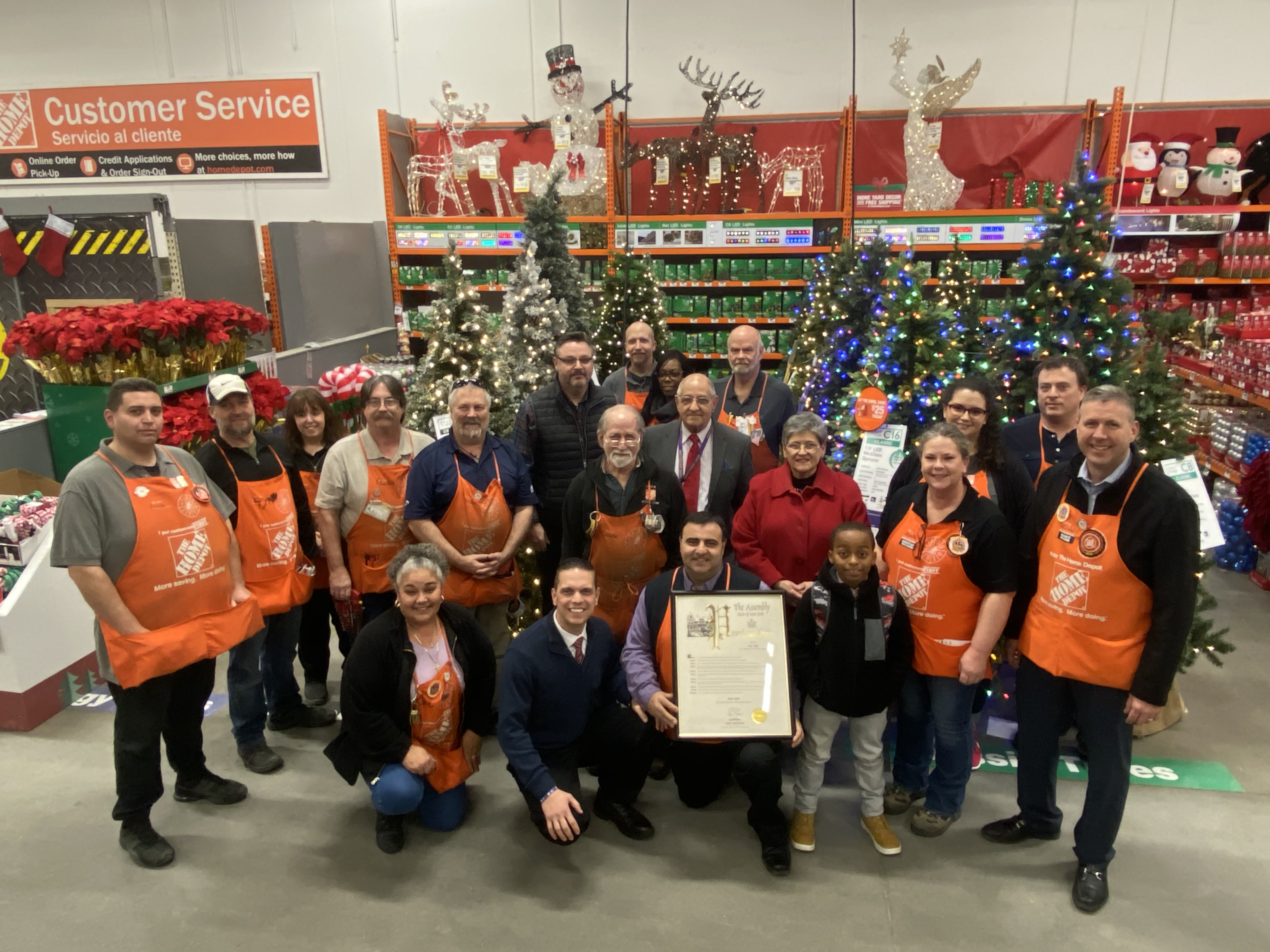 The management team and staff of Home Depot, join Assemblyman Santabarbara and Interim Superintendent of the Greater Amsterdam School District Dr. Ray Colucciello, School Board President Dr. Nellie Bu