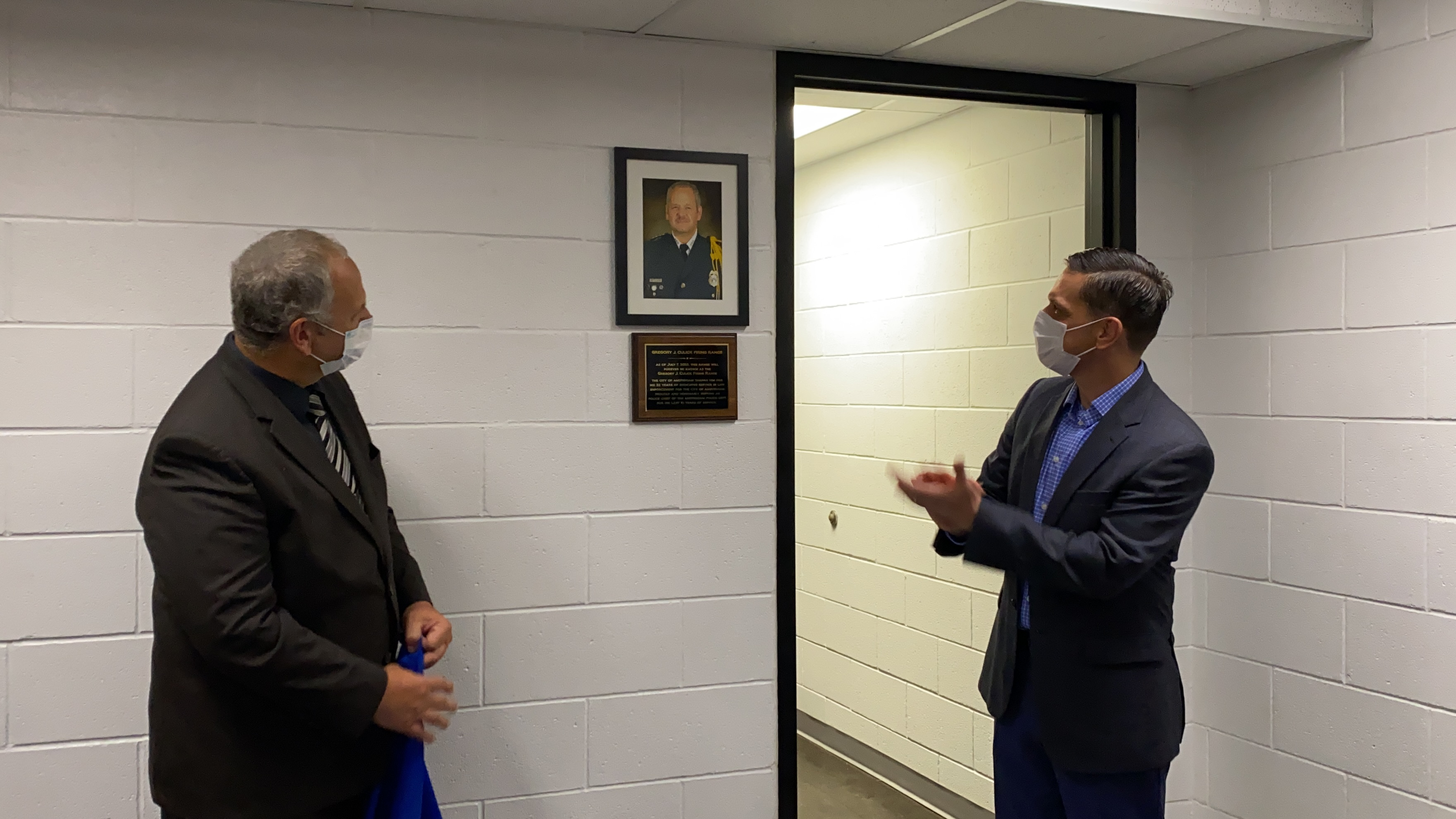 Assemblyman Angelo Santabarbara joined with City of Amsterdam Mayor Michael Cinquanti and the Amsterdam Police Department, to dedicate the department's restored indoor firing range. Assemblyman S