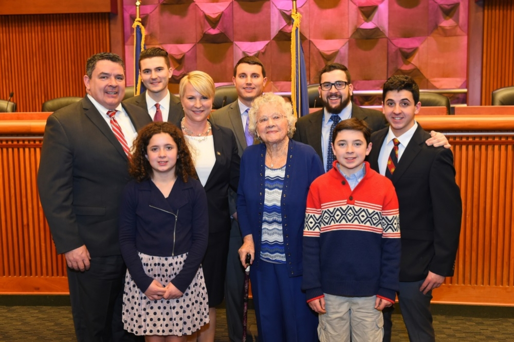 Assemblywoman Mary Beth Walsh with her family at Tuesday's swearing in ceremony in Albany.