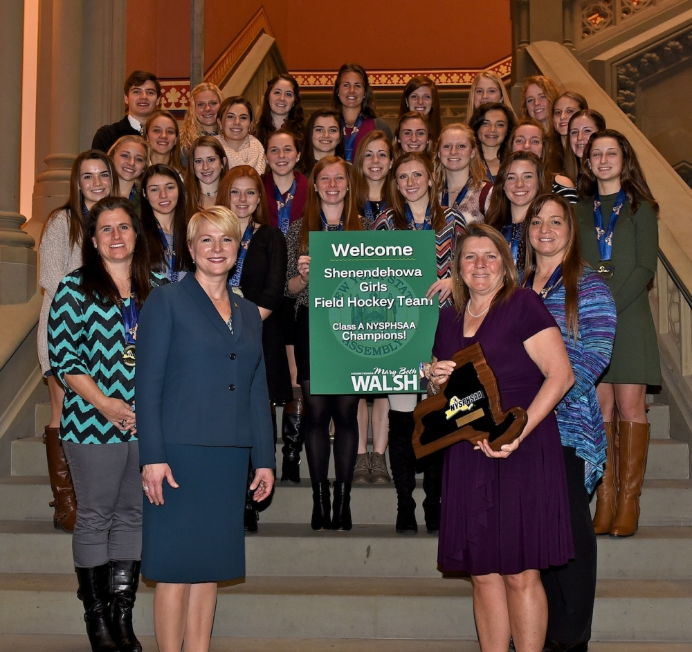 Assemblywoman Mary Beth Walsh (R,C,I,Ref-Ballston), front left, welcomed the champion Shenendehowa Women's Field Hockey Team to the Capitol on Tuesday. The team was led by head coach Jeanne Frevo