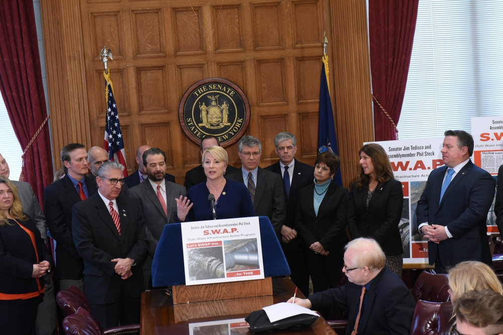 Assemblywoman Mary Beth Walsh (R,C,I,Ref-Ballston) joins local leaders for Safe Water Infrastructure Action Program.