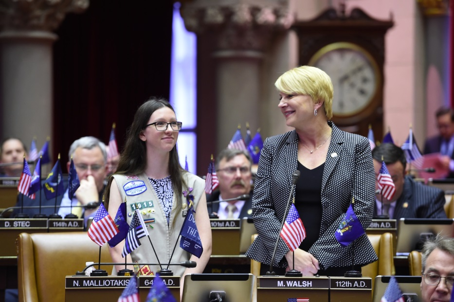 Assemblywoman Mary Beth Walsh (R,C,I,Ref-Ballston) welcomed Girl Scout and Maple Hill freshman Samantha Siciliano to the Capitol for the Young Women's Leadership Initiative's 'Girls at