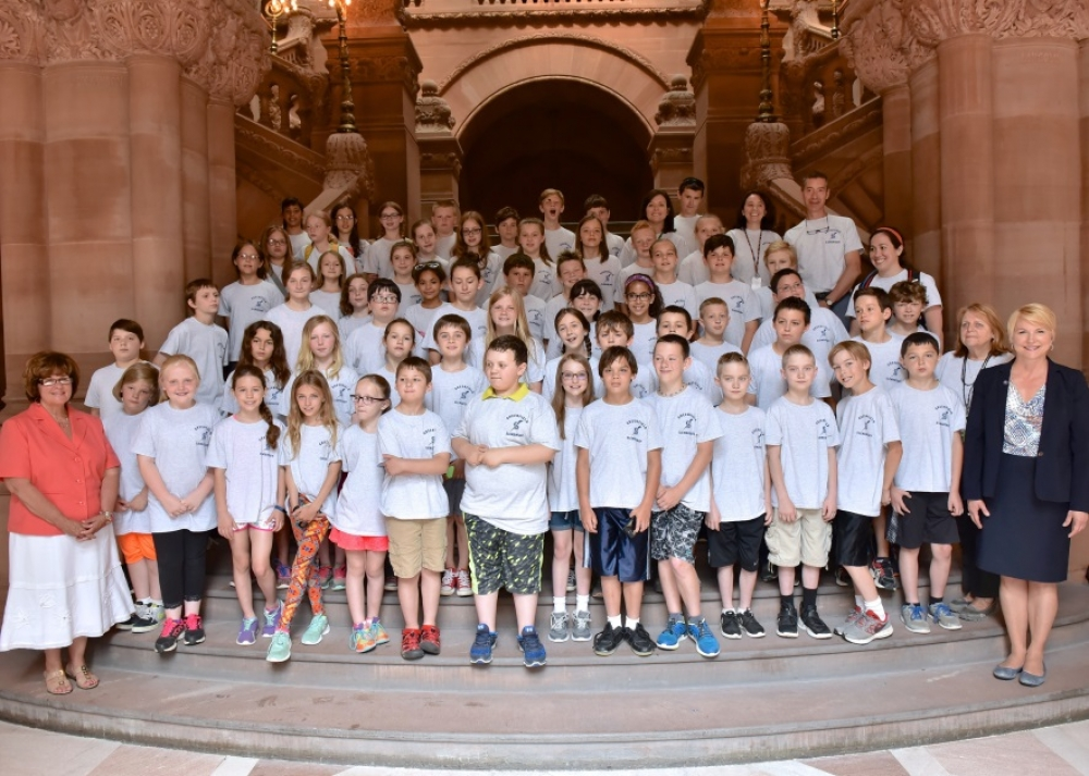 Assemblywoman Mary Beth Walsh (R,C,I,Ref-Ballston)and Senator Kathy Marchione (R,C,I,Ref-Halfmoon) welcomed the Greenfield Elementary fourth grade class for a tour of the state Capitol on Tuesday, Jun