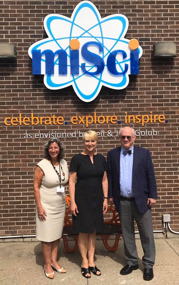 Assemblywoman Mary Beth Walsh tours Museum of Innovation & Science (MiSci) in Schenectady with Executive Director Mac Sudduth and VP of Development Carmel Patrick.