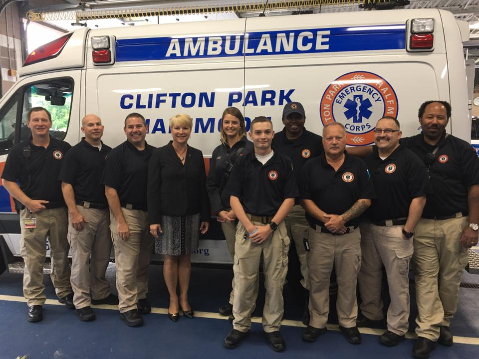 Assemblywoman Walsh visits with staff of Clifton Park & Halfmoon EMS.