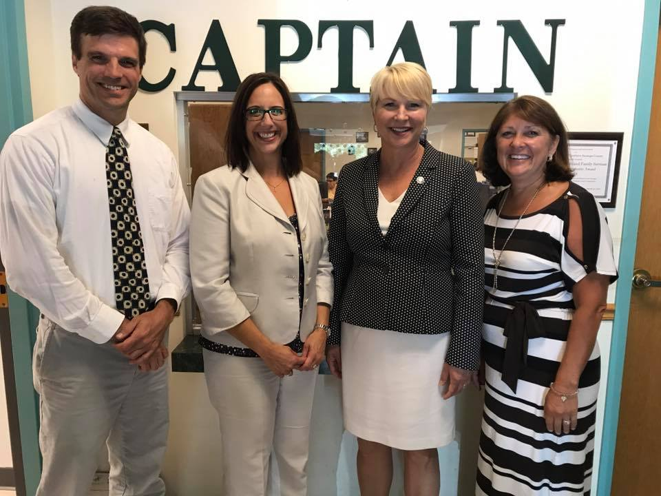 Assemblywoman Mary Beth Walsh with Sue Capatroppa and Andy Gilpin at CAPTAIN Youth and Family Services.