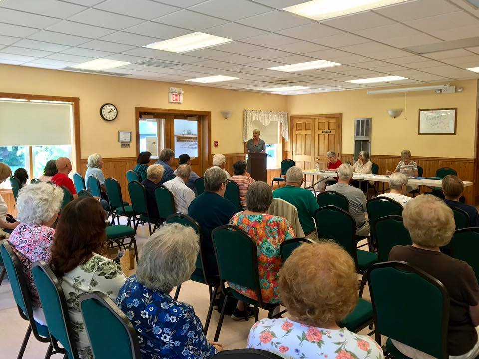 Mary Beth Walsh attends Greenfield Seniors at their meeting to discuss important topics including ethics reform, free college and term limits, among other things.