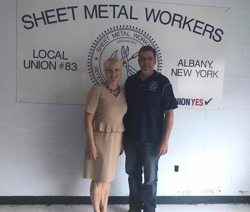Assemblywoman Mary Beth Walsh tours the current site of the Sheet Metal Association's facility with Phil Stenglein. The facility will soon be relocating to their new home in Clifton Park.