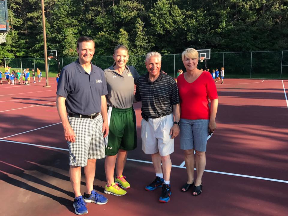 Assemblywoman Walsh with Town of Clifton Park Supervisor Phil Barrett, Siena Women's Basketball Head Coach Ali Jaques  and Senator Jim Tedisco at Clifton Park's National Night Out Hoops at t