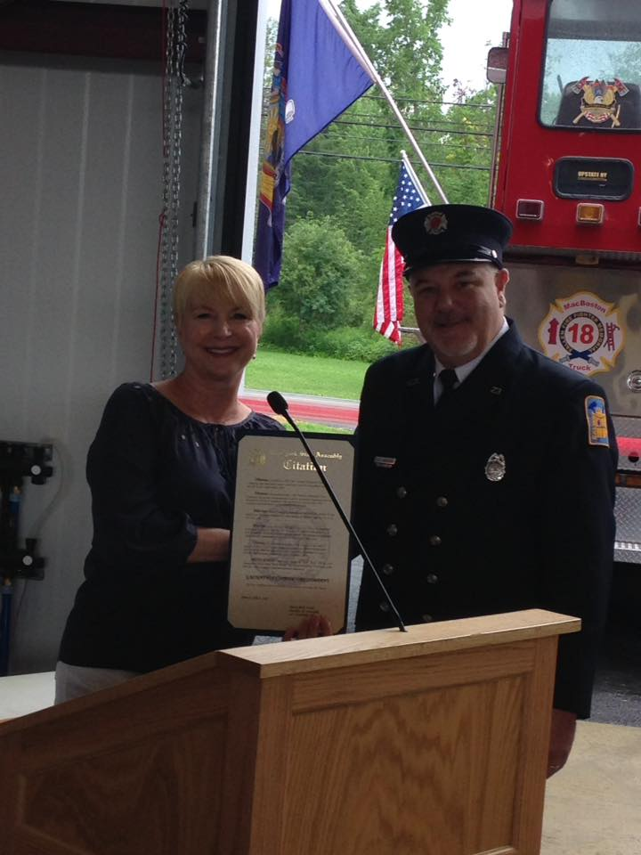 Assemblywoman Mary Beth Walsh attends ribbon cutting for Galway's new Fire Department.