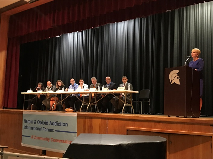 Assemblywoman Mary Beth Walsh (R,C,I,Ref-Ballston) offers welcoming remarks prior to an expert panel and discussion on heroin and opioid abuse. The community event was held on Wednesday, October 11 at