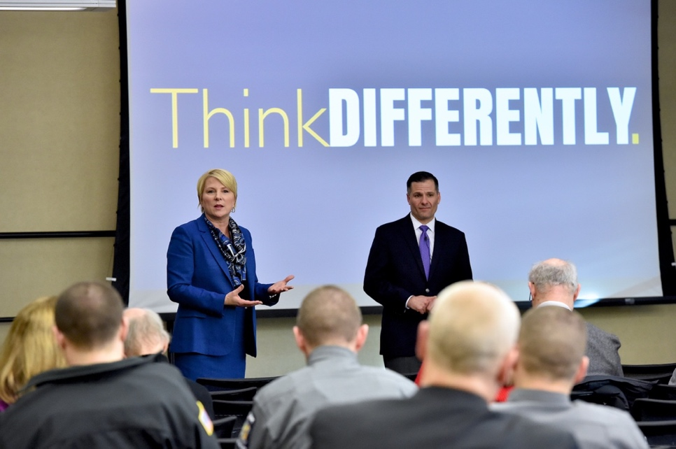 "Assemblywoman Mary Beth Walsh and Dutchess County Executive Marc Molinaro address attendees of Wednesday's ""Think DIFFERENTLY"" community forum in Clifton Park."